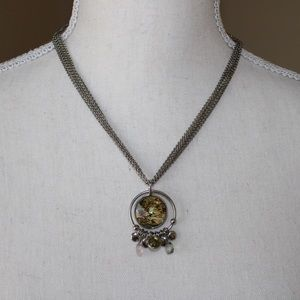 Silver Necklace with Faux Gem
